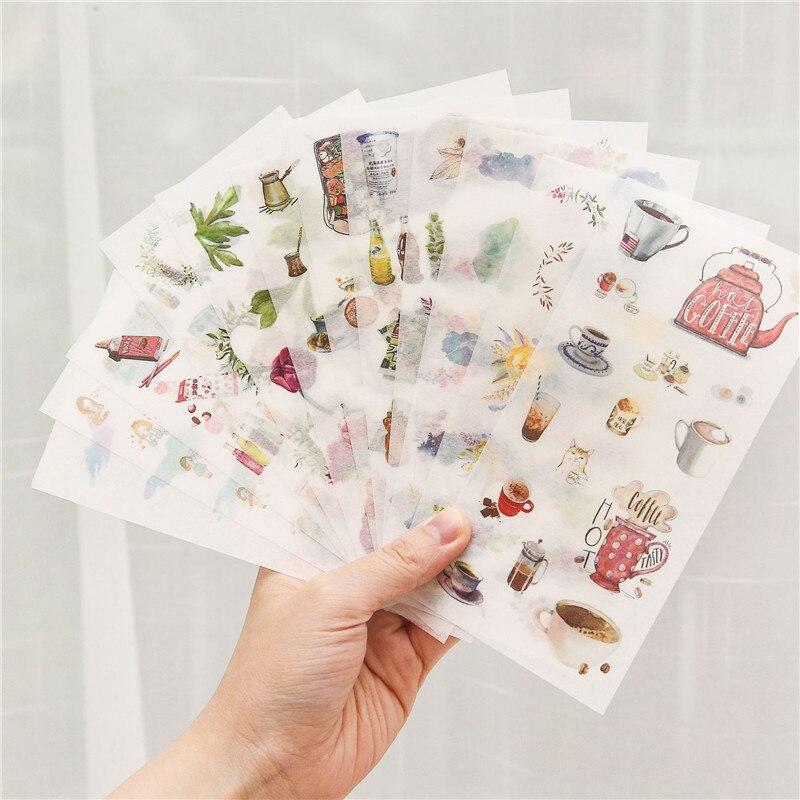 6 sheets/pack Cartoon Cat Washi Paper Sticker Kawaii Bullet Journal Stickers Scrapbooking Daily Planner Stationery Supplies