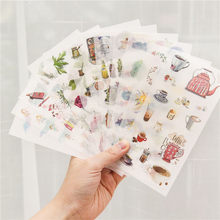 6 sheets/pack Cartoon Cat Washi Paper Sticker Kawaii Bullet Journal Stickers Scrapbooking Daily Planner Stationery Supplies