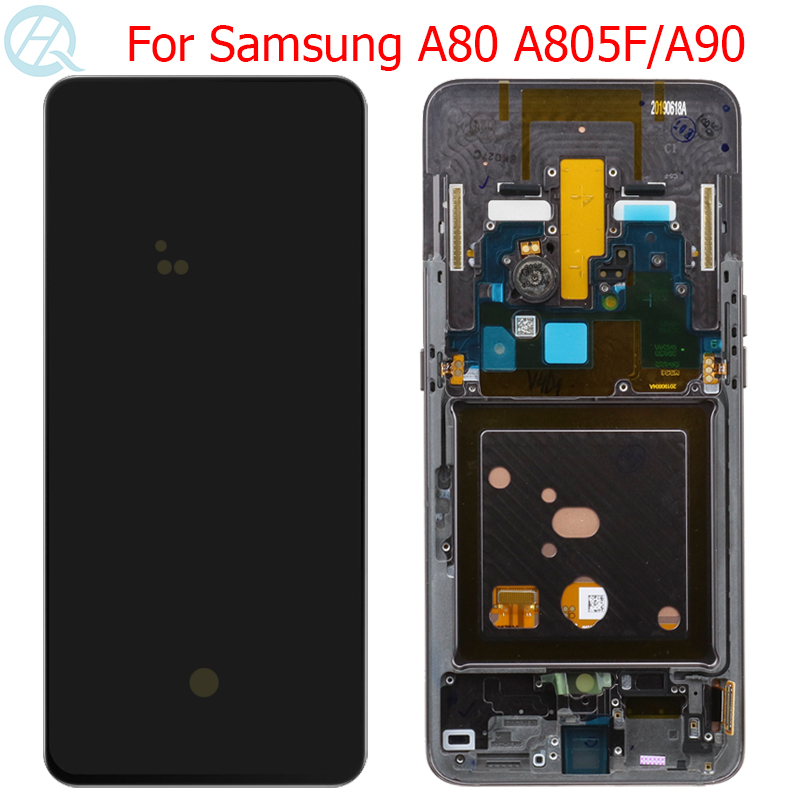 Original AMOLED Display For Samsung Galaxy A80 A805F LCD With Frame For Samsung A90 A905F Display Touch Screen Panel Assembly