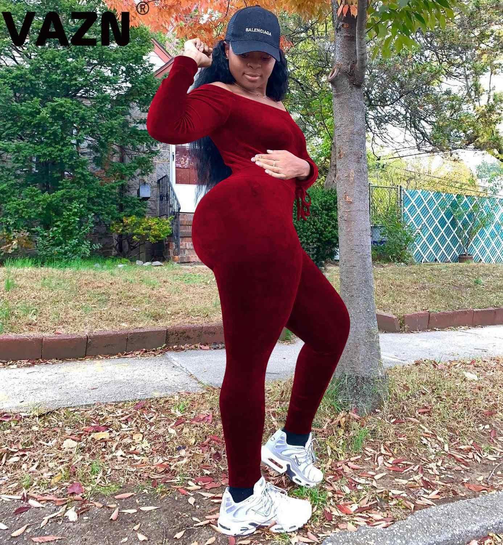 Vazn 새로운 스웨이드 점프 슈트 섹시한 무료 소프트 untidy 패션 슬래시 목 전체 슬리브 탄성 여성 높은 허리 긴 연필 점프 슈트