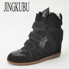 JINGKUBU 2020 nowe buty z zamszu damskie modne buty w stylu Casual dla kobiety jesień zima wzrosła w butach kobieta duży rozmiar 35-41