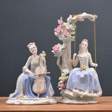 Statue Sculpture Figurine Accessories Resin Room Decoration Modern Geometric Vintage Abstract Decor Artware Palace Western Lady
