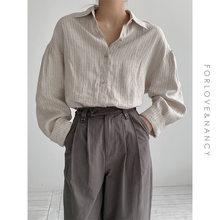 Camicie minimaliste a righe larghe per donna colletto rovesciato camicie femminili in lino top camicette primavera estate 2021