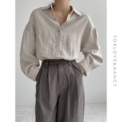 Minimalist Loose stripe Shirts for Women Turn-down Collar flax Female Shirts Tops 2021 Spring Summer Blouses