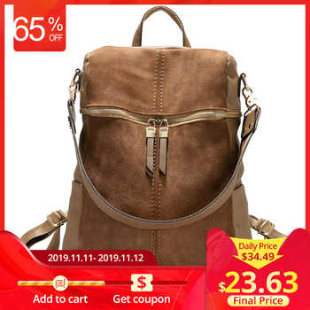 LOVEVOOK vintage women backpack nubuck leather PU school backpacks for teenage girls large capacity shoulder bags for women 2019 - DISCOUNT ITEM  60 OFF Luggage & Bags