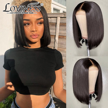 Fashion Lace Front Bob Wig U part Short Cheap Human Hair Wig 180% Denstiy Closure 613 Honey Blonde Colored Frontal Wig For Women image