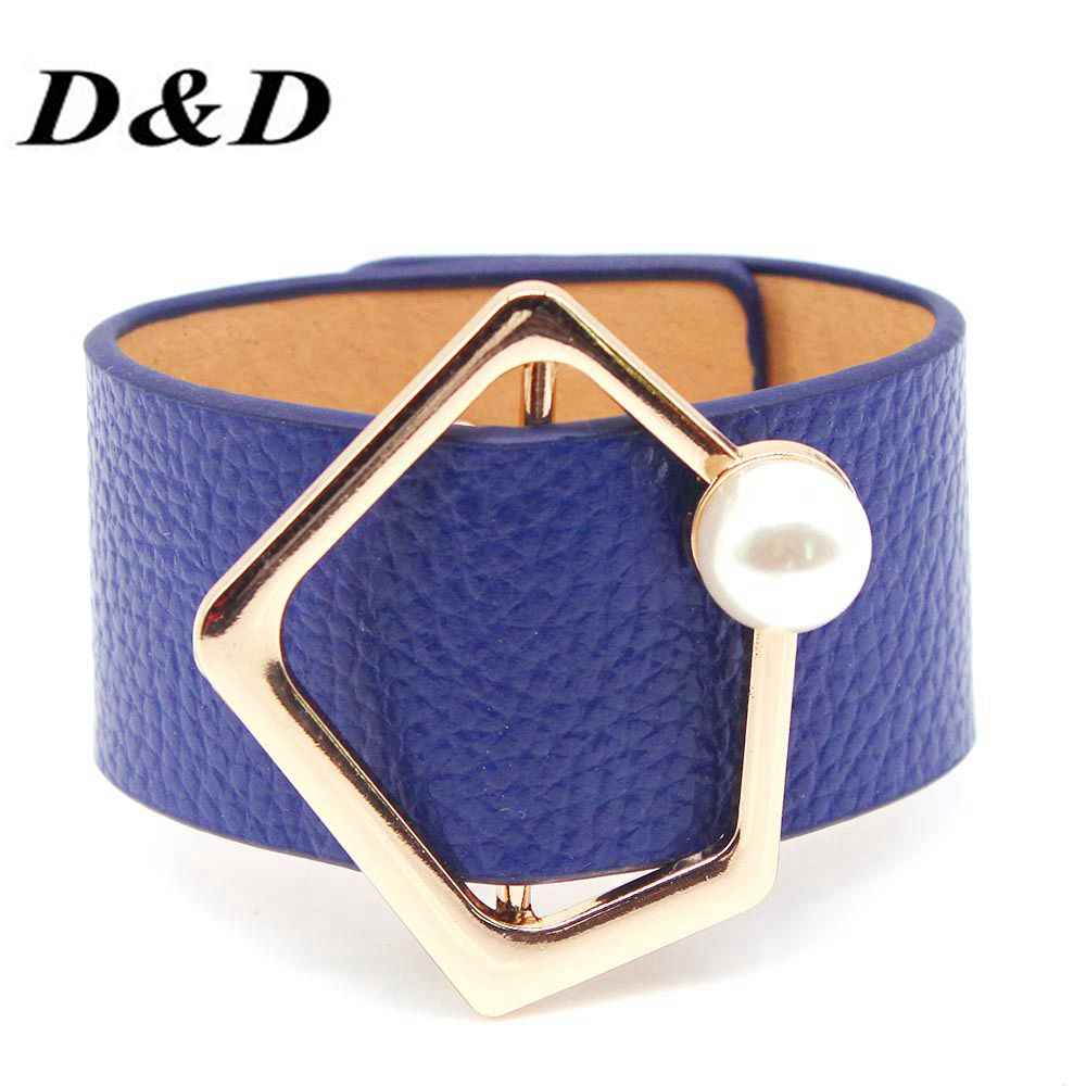 D&D European Fashion Punk Wide Pearl Cuff Bracelet Leather Bracelet & Bangles For Women Wedding Jewelry
