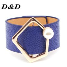 D&D European Fashion Punk Wide Pearl Cuff Bracelet Leather Bracelet & Bangles For Women Wedding Jewelry цена