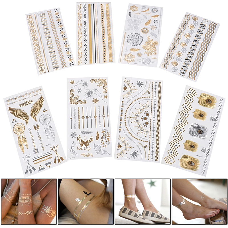 Retro Hot Stamping Silver Gold Tattoo Sticker Glitter Tattoo Fake Tatoo Temporary Tatto For Men Girl Party Body Decoration