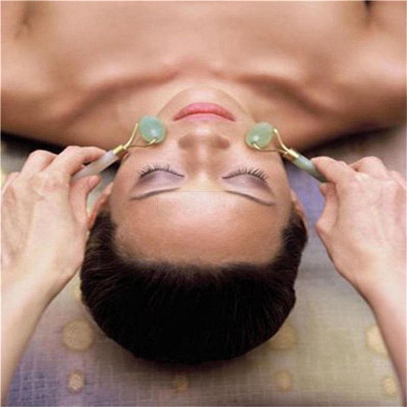 Купить с кэшбэком Facial Roller Natural Jade Quartz Face Jade Stone Roller Beauty Massage Tool Face Lift Massager Dropshipping