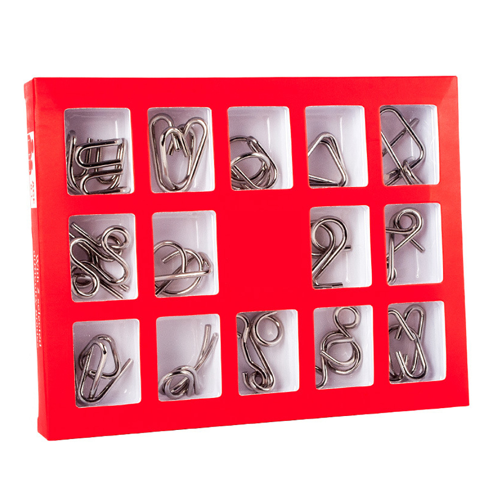 15PCS Educational Metal Wire Puzzle Mind Brain Teaser Puzzles Game For Adults Children Kids Game Educational Metal Wire Puzzles