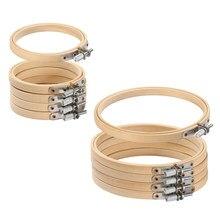 Argolas de madeira para bordado, conjunto de anéis de bambu para bordado, agulha de ponto cruz, diy, pçs/set, 8-30cm ferramenta de artesanato