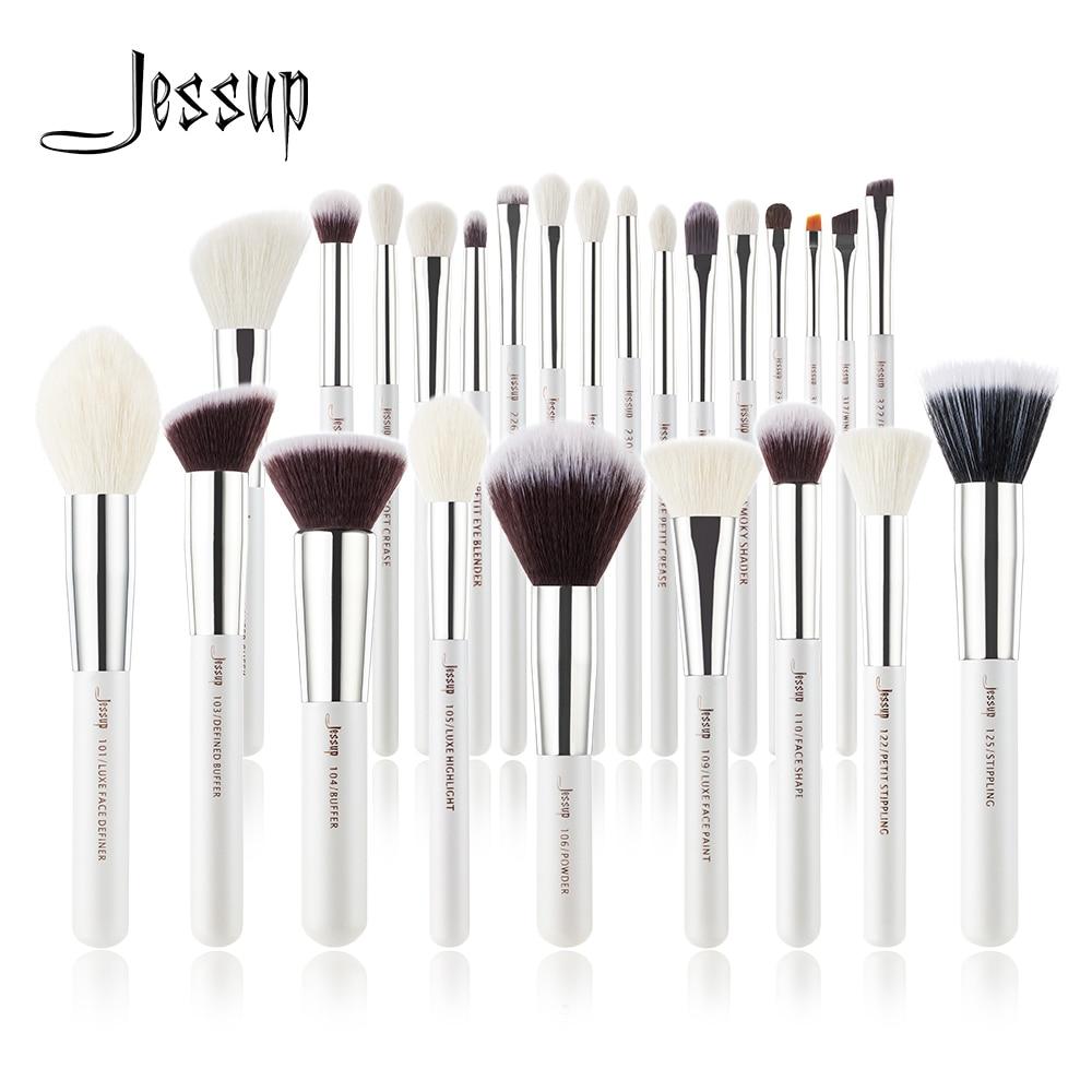 Jessup Juego de brochas de maquillaje, base de belleza en polvo, sombra de ojos, 6 uds. 25 uds., color blanco perla/plata|rizador de pestañas| - AliExpress
