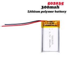 3.7v 300mah 502035 lipo li ion baterias recarregáveis para mp3 gps mini 0801 ambarella a2s60 bluetooth fone de ouvido pedômetro relógio