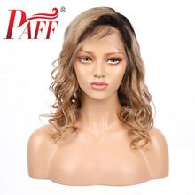 PAFF Ombre Colored 13*4 Lace Front Wigs Baby Hair Short Brazilian Remy Body Wave 1b27 Human Bleached Knots Side Part
