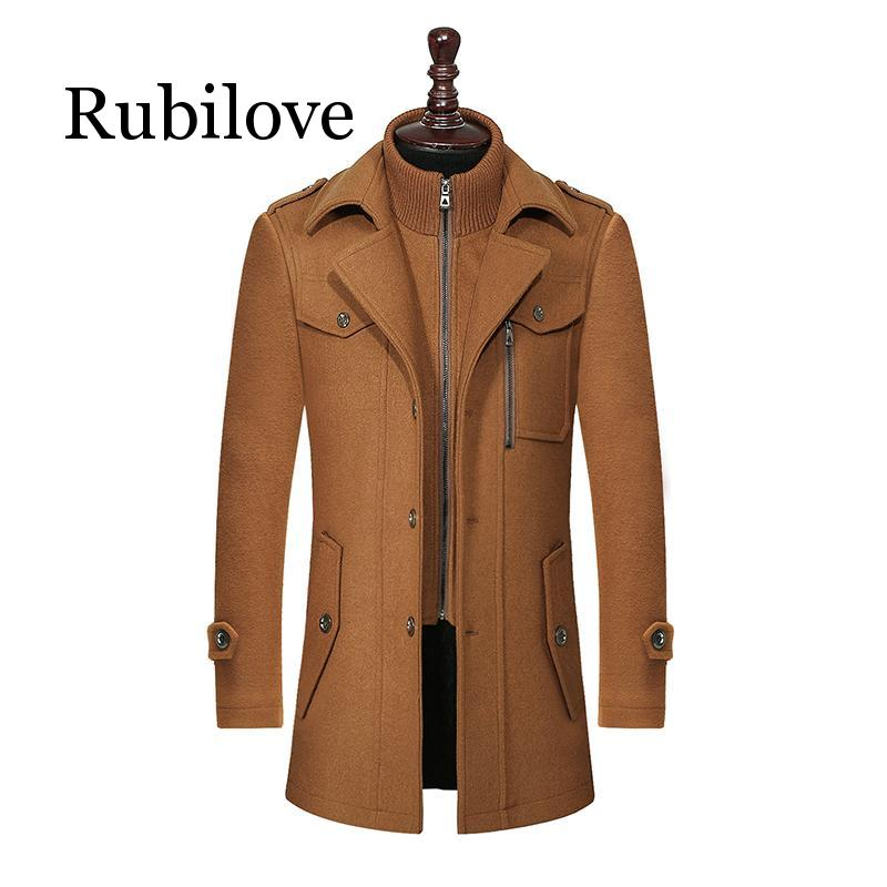 2020 New Winter Wool Coat Slim Fit Jackets Fashion Outerwear Warm Man Casual Jacket Overcoat Pea Coat Plus Size M-XXXL