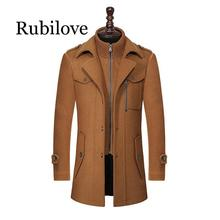 Rubilove New Winter Wool Coat Slim Fit Jackets Fashion Outerwear Warm Man Casual Jacket Overcoat Pea Coat Plus Size M-XXXL недорого