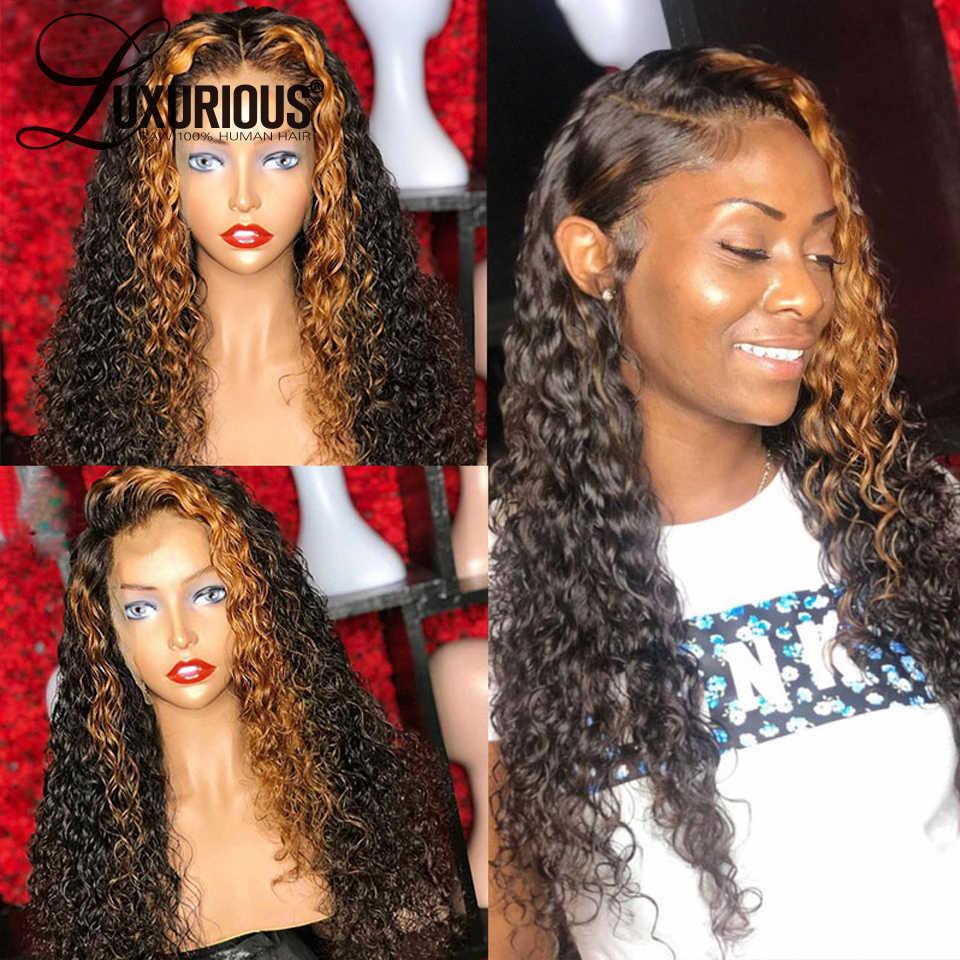 Peluca con rizos de rubio miel, peluca con malla Frontal ombré resaltado de color 13x6, pelucas de cabello humano con encaje Frontal para mujer, peluca de encaje Frontal 360