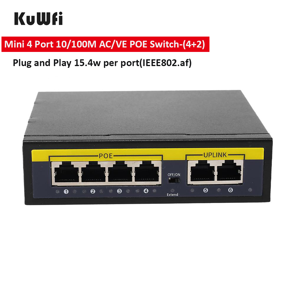 KuWFi 48V POE Switch 100Mbps Ethernet Network Switch 4 Ports PoE Switcher  Standard RJ45 Injector for IP Camera/Wireless AP/CCTV 1