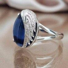 Diamond ring rose gold rings Crystal moissanite Angel Wings Inlaid sapphire ring Indian luxury jewelry Gemstone ring B2701 недорого