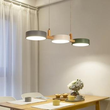 Nordic Wood Kitchen Pendant Lights Fixture Modern Wooden Dining Room Hanging Lamp Luminaire Suspension Lighting Home Decoration
