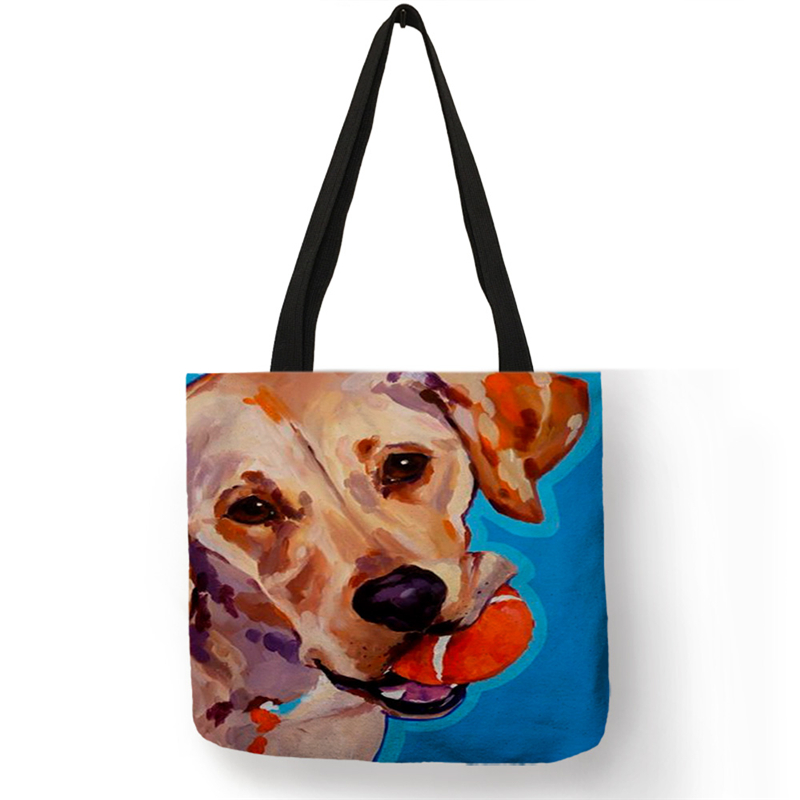 SY0068 Cute Dog Series Womens Handbag Creative Oil Painting Art Tote Bags For Shopping Travel Women Lady Men School Book Bags