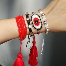 SHINUSBOHO MIYUKI Eye pulseras Bracelet Men Statement Lucky Red Jewelry Fashion Crystal CZ Bead Bracelets for Women shinusboho lucky eye jewelry pulseras miyuki bracelet for women fashion crystal beads with tassel bracelets bileklik