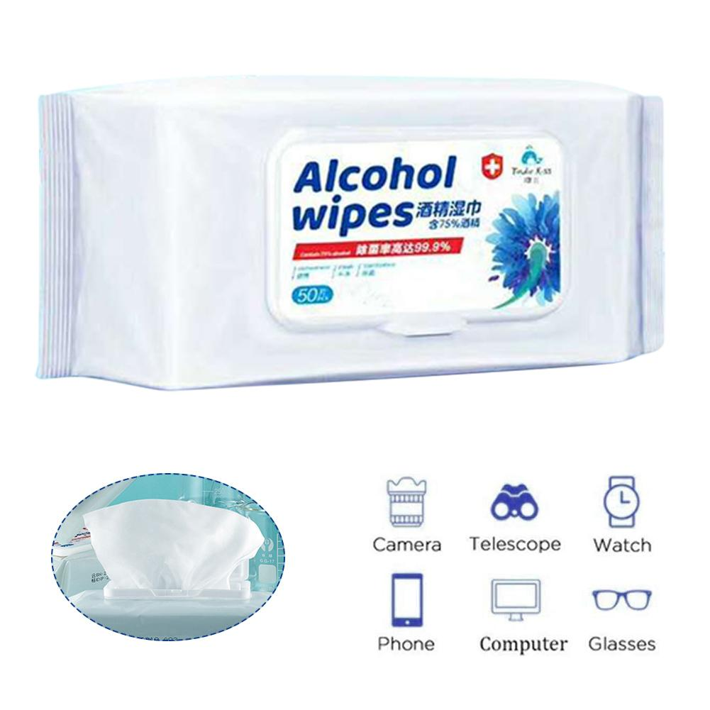 50PCS/Pack Desinfectante Wipes Disposable Antibacterial Wipe Sterilization Alcohol Wipes With 75% Alcohol Cleaning Wipes