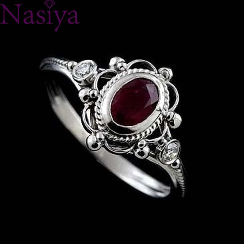 Engagement Proposal Ring Ruby Thai Silver 925 Silver Gemstone Rings Anniversary Wedding Gift
