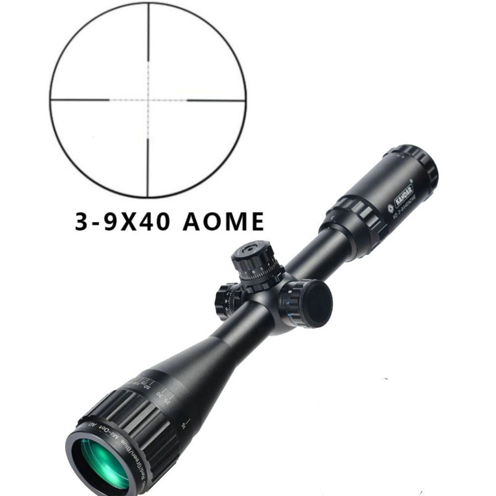 KANDAR 3-9x40 AOE Mil-dot Reticle RifleScope Locking Resetting Full Size Hunting Rifle Scope Tactical Optical Sight