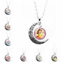 2019 New Cute Snow Princess and Beast Pattern Ladies Month Necklace Glass Convex Round