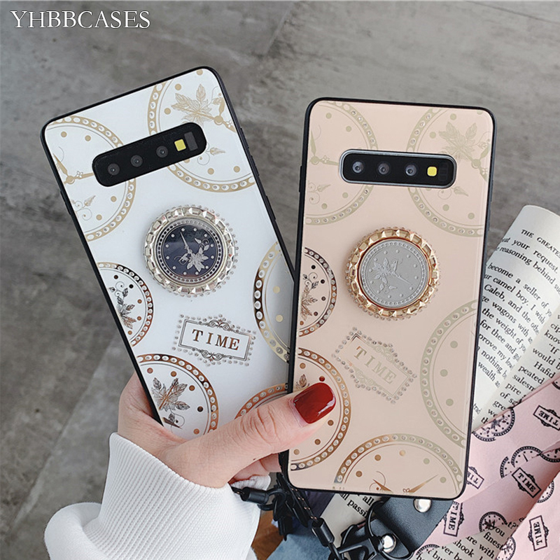 YHBBCASE For Samsung <font><b>Note</b></font> 10 8 <font><b>9</b></font> Scrystal Clock Phone Cover For Samsung Galaxy S10 S8 S9 Plus Tempered Glass <font><b>Ring</b></font> Holder <font><b>Cases</b></font> image