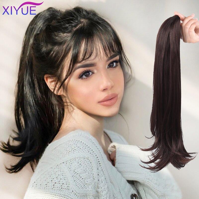 Синтетический когтеобразный зажим для хвоста, волнистый хвост, длинные густые волнистые накладные волосы для конского хвоста с зажимом для...