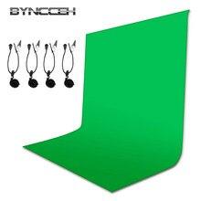 Arrière-plan Chromakey en Fiber de coton pour Studio Photo, avec 4 clips, toile de Fond verte pour photographie