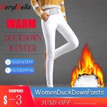 Branco para baixo calças para as mulheres de inverno cintura alta plus size elástico calças compridas finas calças lápis feminino pantalon femme berylbella