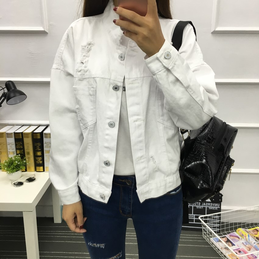 Jacket Women White Black Denim Jacket Spring Jeans Coat Casual Harajuku Streetwear Female Vintage Jeans Coat