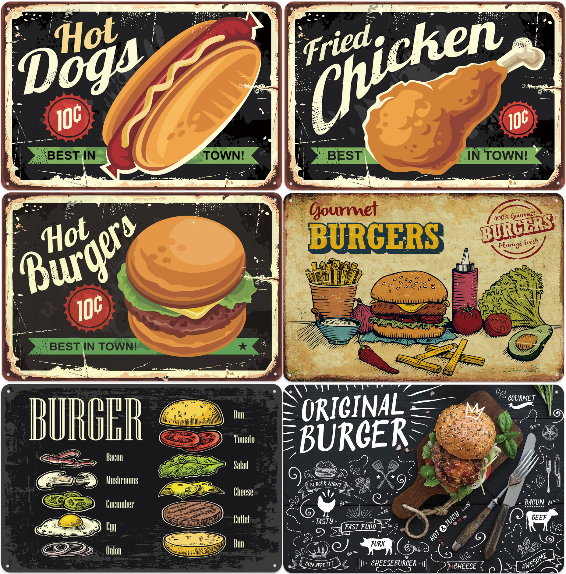Chicken Hamburger Hot Dogs Sign Plaque Metal Vintage Plates For Wall Art Home Shop Vintage Restaurant Decoration image