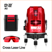 RZ Laser Level 5 Line Red Beam Line 360 Degree Rotary Level Self leveling Horizontal Vertical Available Auto Construction Tools