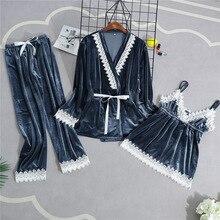 Velours femme vêtements de maison pyjamas 3PC sangle haut pantalon costume ensembles de vêtements de nuit chemise de nuit Sexy Kimono Robe de nuit Robe de bain chemise de nuit