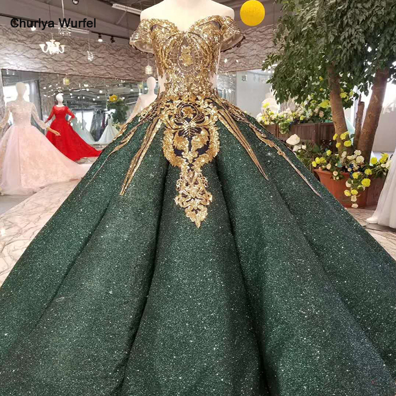 LSS167 Luxury Dubai Shiny Dresses Women Occasion Off The Shoulder Sweetheart Golden Glitter Ball Dresses Curve Shape Dark Green
