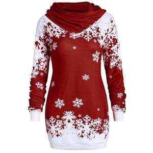 Fashion Women Hoodies Merry Christmas Snowflake Printed Tops Cowl Neck Sweatshirt Low Price Promotions Slim Hoodies(China)