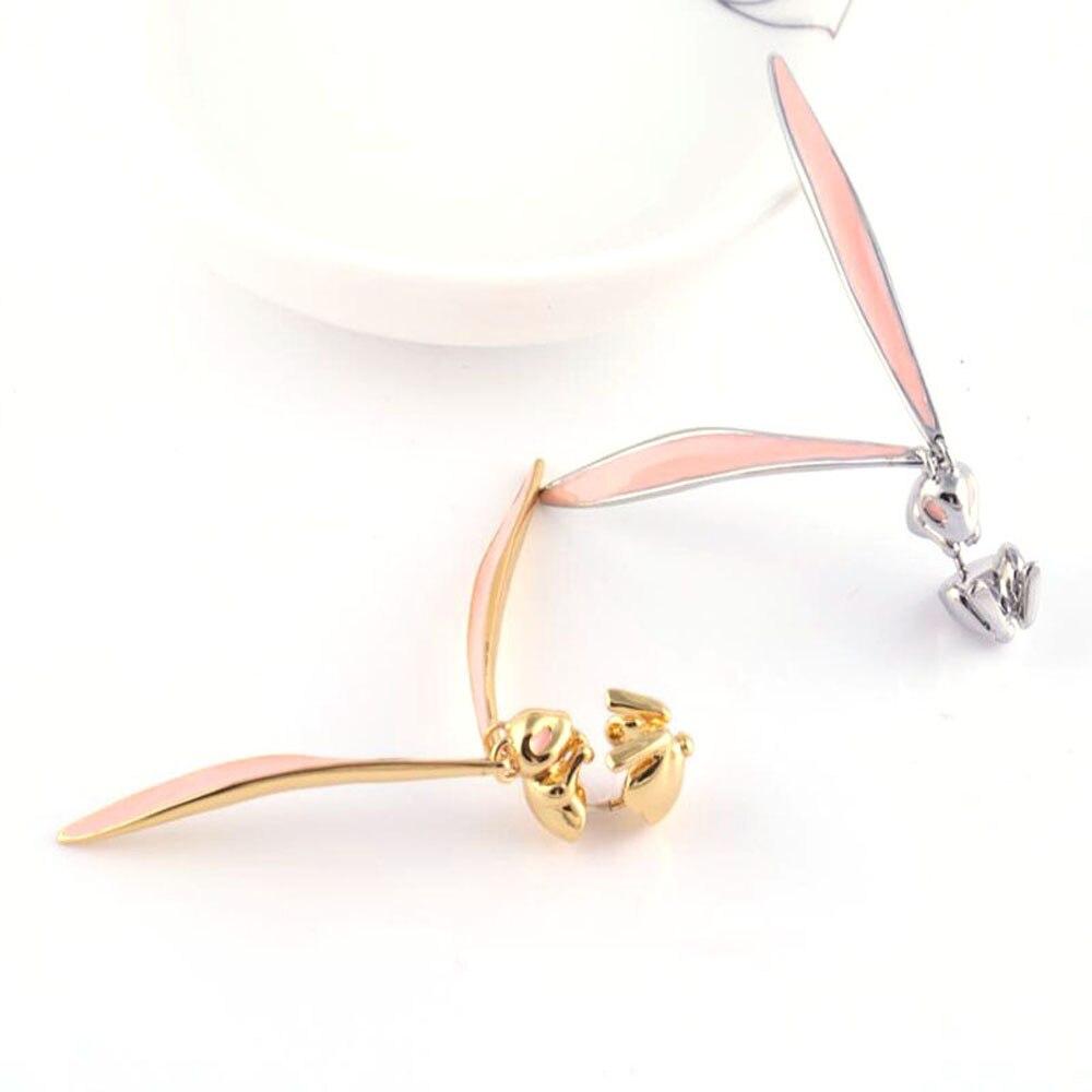 2020 прекрасные блестящие розовые длинные глазурованные серьги Стразы с заячьими ушками металлические дизайнерские Висячие серьги для женщ...