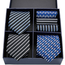 Luxury Men's 3pcs 7.5cm Classic Handkerchief Necktie Set Jacquard Plaid Striped Ties Man Bridegroom Business Accessories