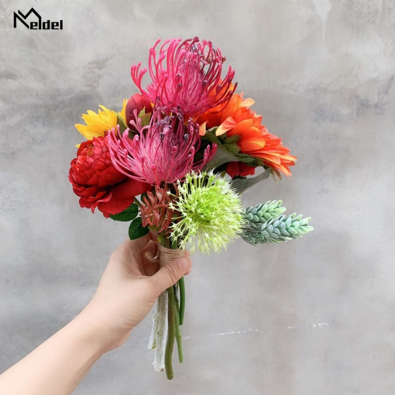 Meldel Artificial Flore Silk Sunflower Peony Bouquet Fake Flowers Small Bundle Simulation Wedding Home Party Decor Fabric Flower