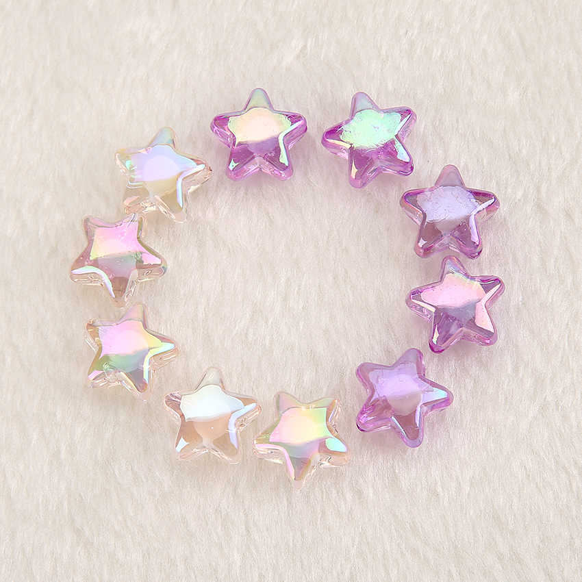 14pcs /lot kawaii Multicolor Cabochon resin star beads with hole for DIY Pendant and Charms