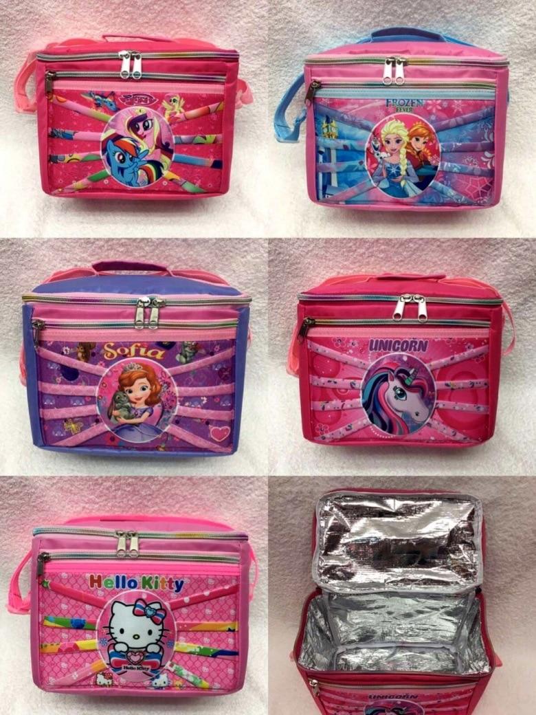 Snow Unicorn Hello Kitty Pony Cartoon 3D Hand Can He Dai Insulated Pinny Bag Zipper Handbag