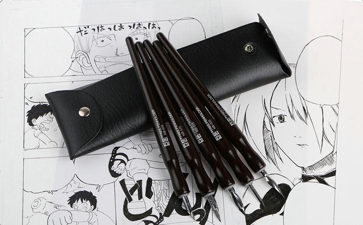 Manga Cartoonist TACHIKAWA Dip Pen Set Saji/school G/D/Maru Manga Tips / Holder