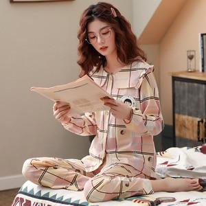 Image 4 - BZEL bahar sonbahar kış pijama setleri kadın pijama pamuk ev giyim Femme artı boyutu pembe Nighty moda Slaid pijama