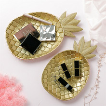 Wooden Gold Pineapple Dessert Fruit Plate Fashion Geometric Dining Table Storage Tray Leaf Decoration Crafts Ornament