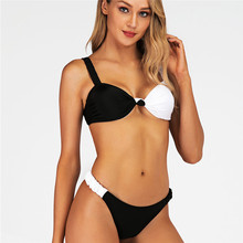 White And Balck Patchwork Bathing Suit 2019 Sexy Push Up Padded Brazilian Bikini Micro Thong G String Swimsuit Women Swimwear red lime bikini top 2019 micro mini thong bikini g string swimsuit solid patchwork push up bathing suit swimwear women plus size